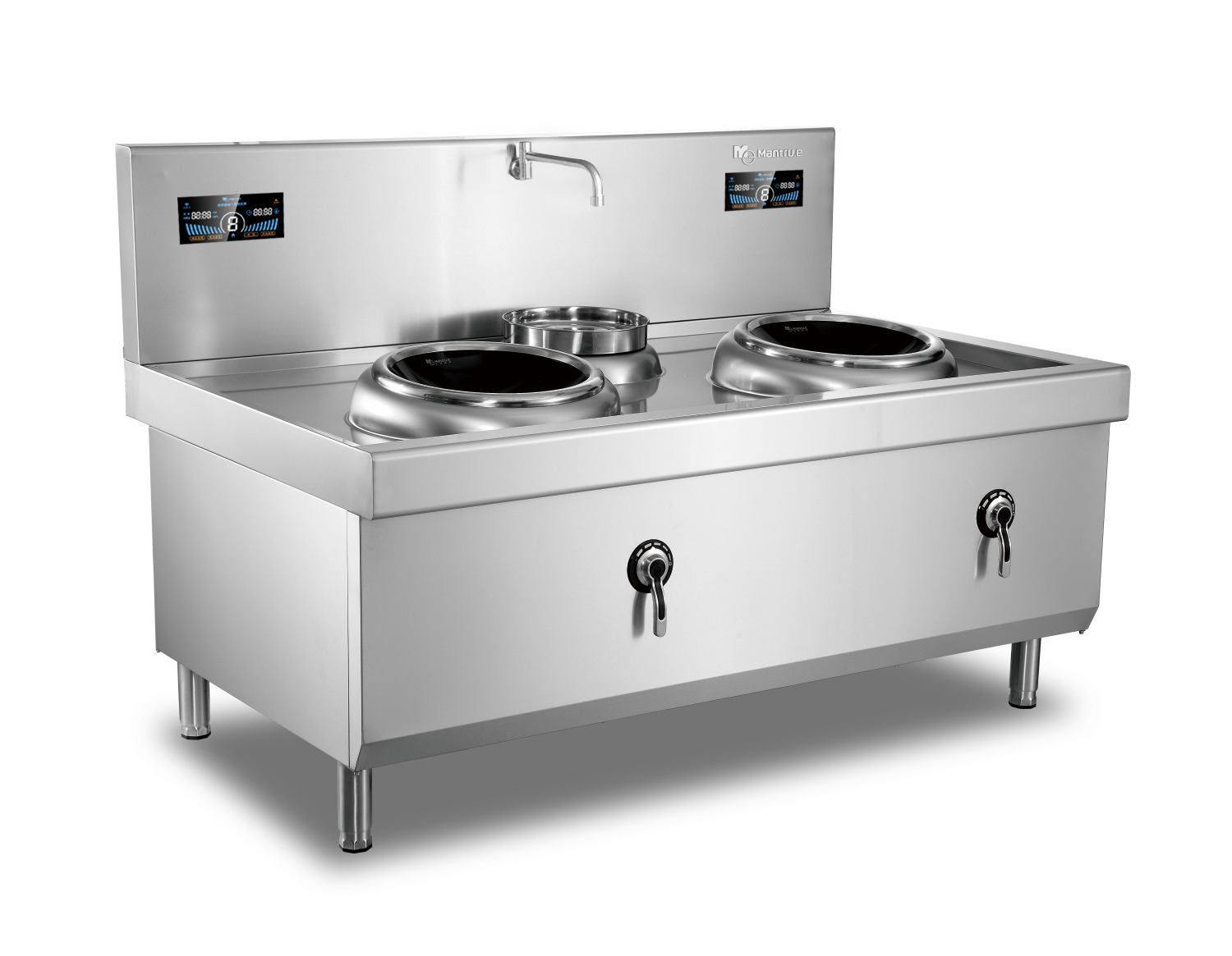 500mm Double Burner with one basin Induction Wok