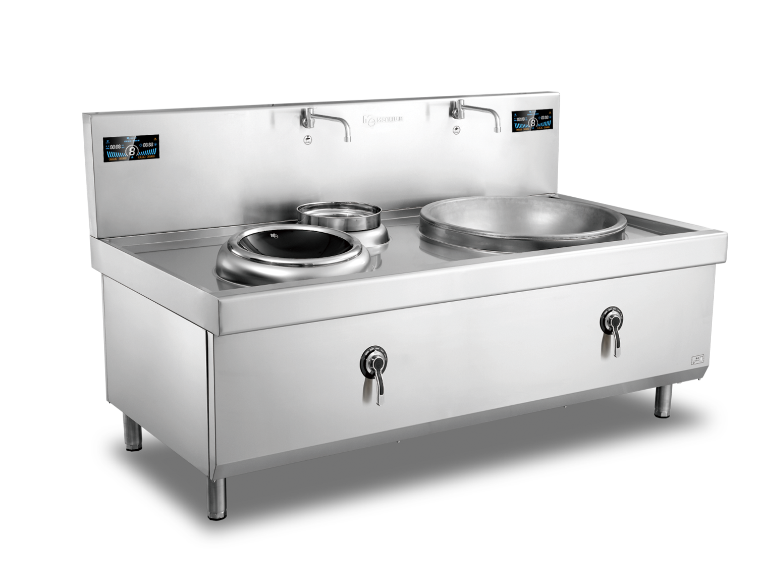 400mm+800mm Double Burner with one basin Induction Wok